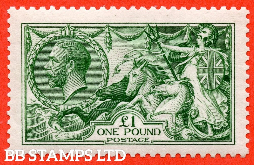 SG. 403. N72 (1). £1.00 Green. A superb UNMOUNTED MINT example with excellent perfs all round.
