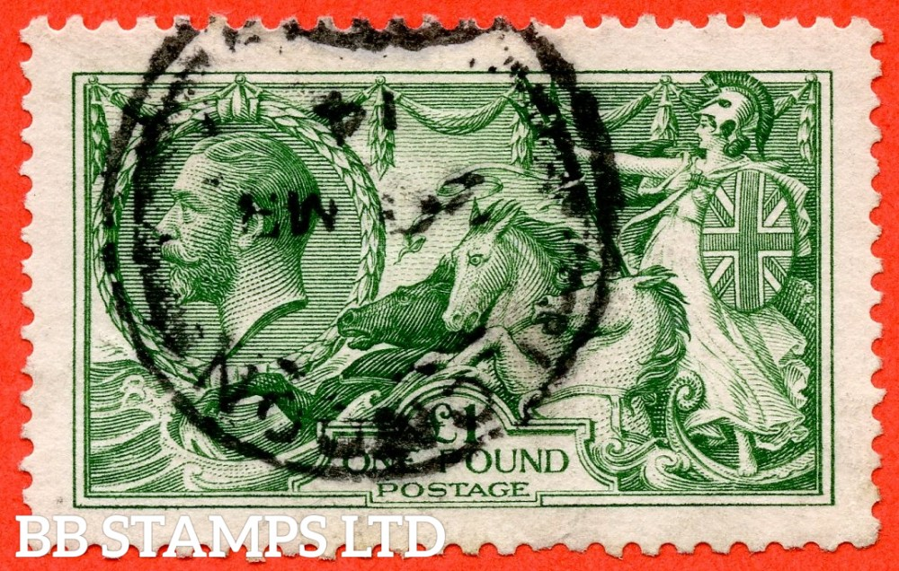 """SG. 403. N72 (1). £1.00 Green. A fine """" March 1914 LONDON """" CDS used example of this beautiful George V high value."""