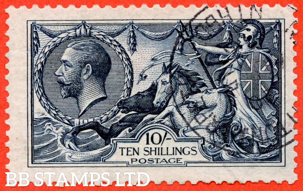 SG. 402 variety N69 (2). 10/- Indigo. A very fine CDS used example with a lovely clear profile.