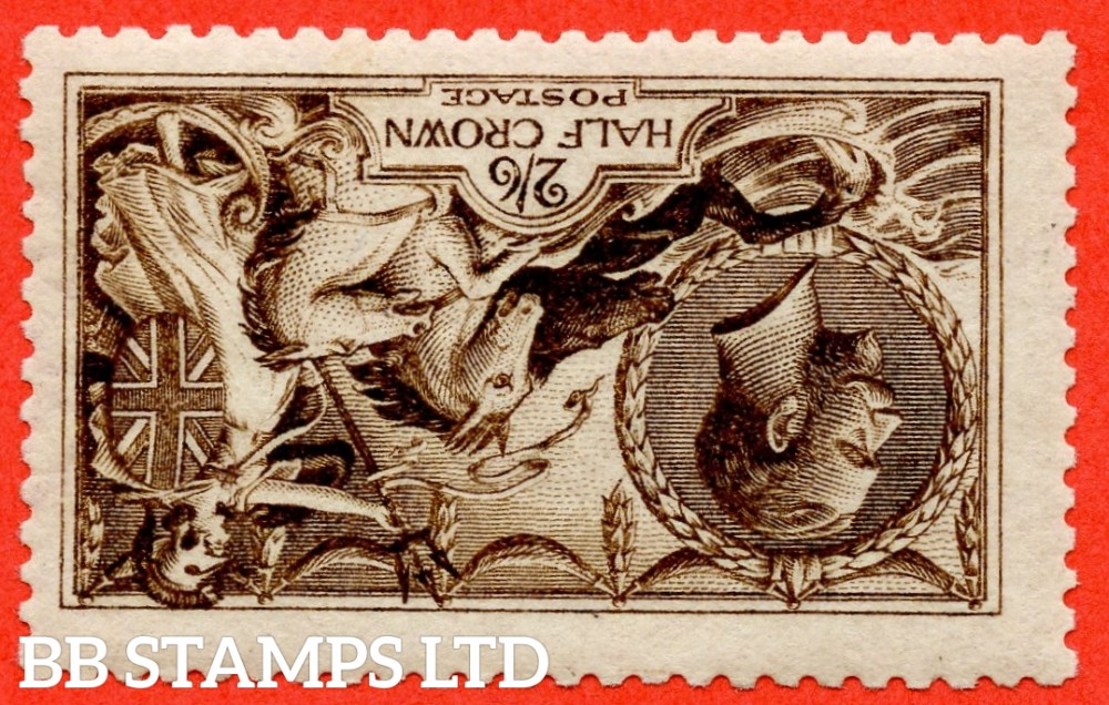 SG. 406 wi variety N64 (11) f. 2/6 Very Deep Brown. INVERTED WATERMARK. A super UNMOUNTED MINT example of this very scarce Seahorse shade complete with Brandon certificate.