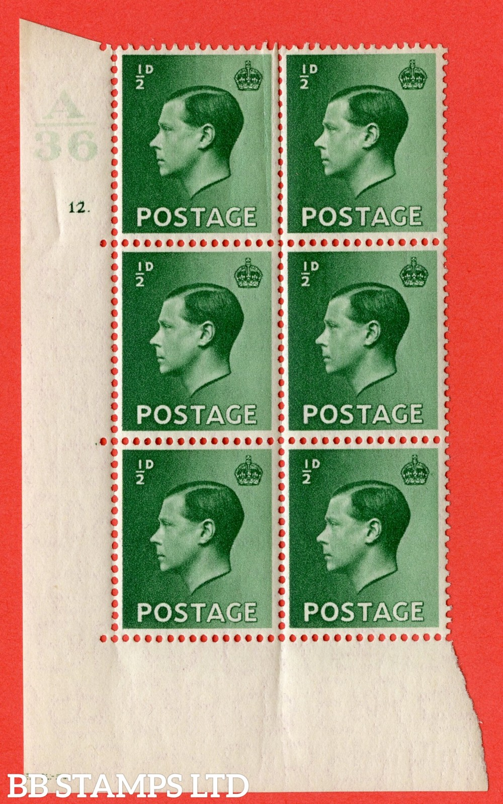 "SG. 457. P1 b. ½d Green. A superb UNMOUNTED MINT. "" Control  A36 cylinder 12 dot "" control block of 6 with perf type 5 E/I  with listed variety "" Pearl beside crown "" Row 20/2."