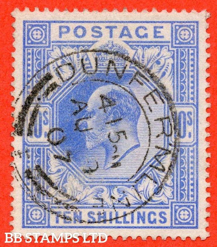 "SG. 265. M53 (1) 10/- Ultramarine. A superb "" 9th August 1907 DUNFERMLINE "" CDS used example."