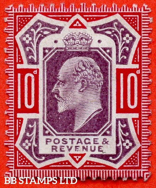 "SG. 255a. M43 (2) b. 10d slate purple & carmine ©. "" No Cross on Crown. A Superb UNMOUNTED MINT example."