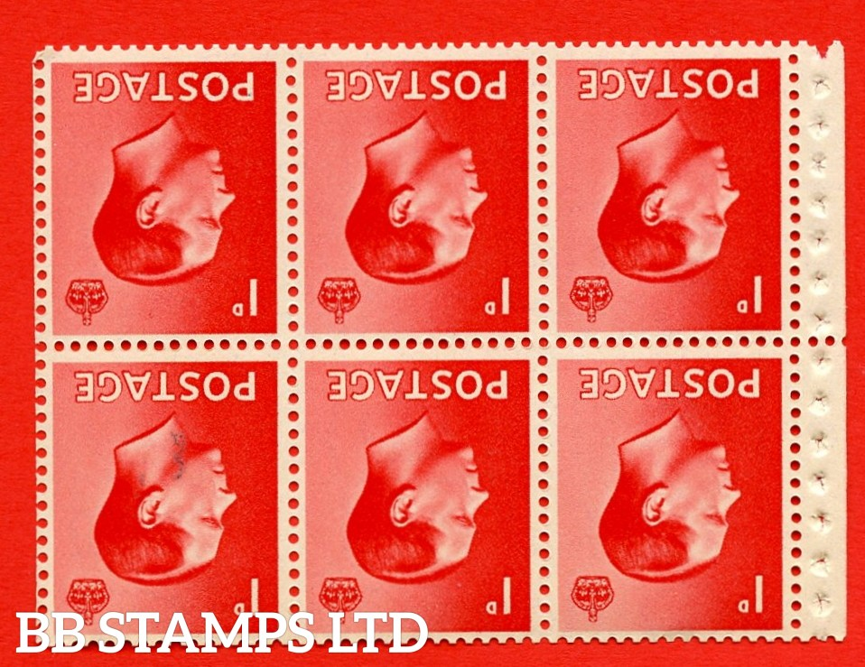 SG. 458aw. PB2a. 1d Red. INVERTED WATERMARK. A fine UNMOUNTED MINT booklet pane of 6. Perf type ' P'. Good perfs.