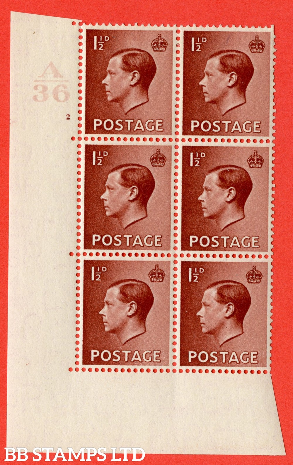 "SG. 459. P3 c. 1½d Red-brown. A fine lightly mounted mint. "" Control  A36 cylinder 2 no dot "" control block of 6 with perf type 5 E/I with listed variety "" Hair flaw retouched """