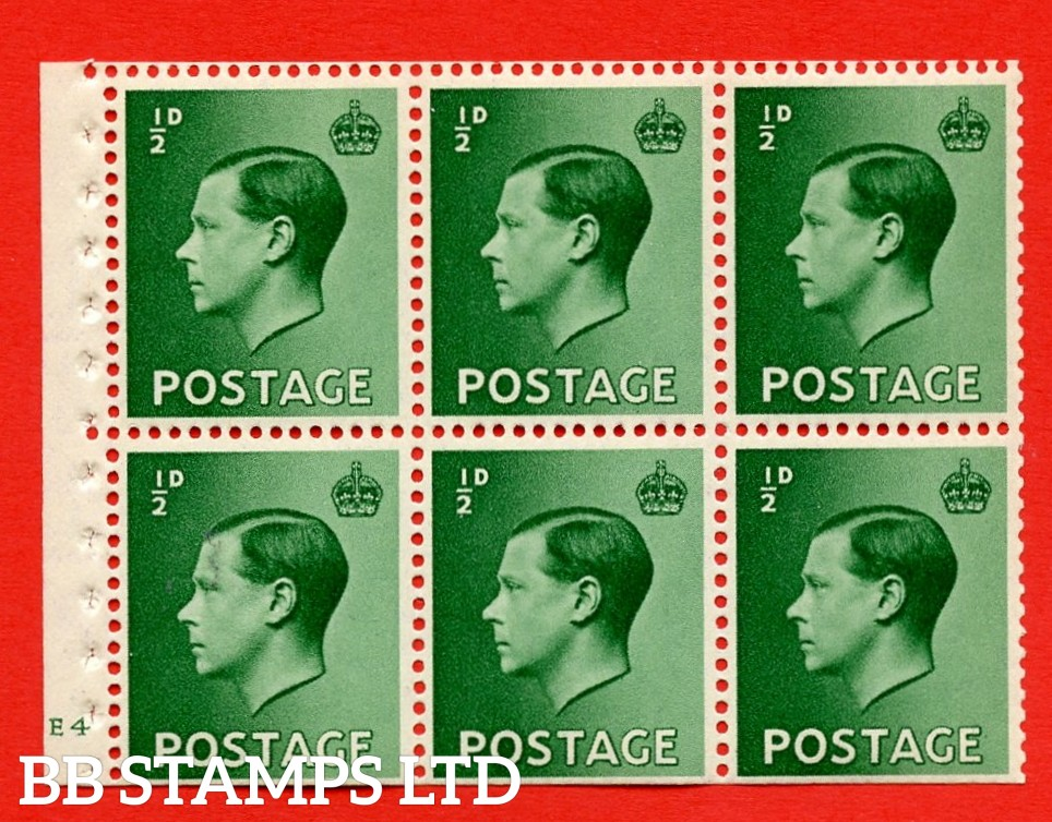 SG. 457 b. PB1. ½d green. A fine UNMOUNTED MINT booklet pane of 6. Cylinder E4 no dot  Perf type ' B4(E) '. Trimmed perfs.