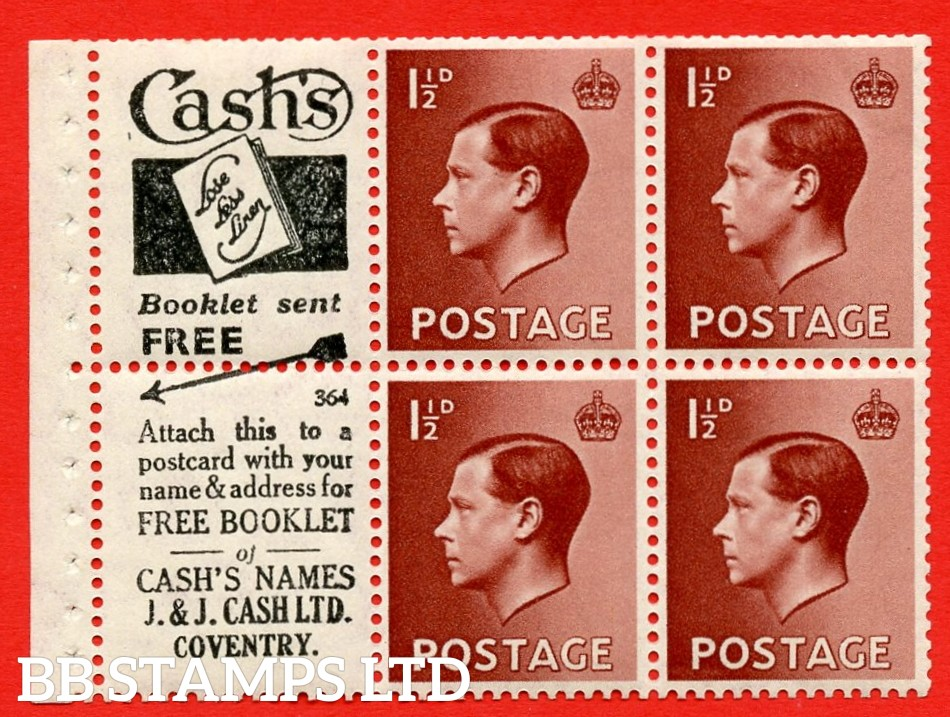 """SG. 459a. PB5 (1). 1½d Brown. A fine Mounted MINT booklet pane of 6. Perf type ' E'. Trimmed perfs. """"cash's"""" Lose Less Linen"""" book/free Booklet.J.&j. Cash"""" (numbered 364)"""