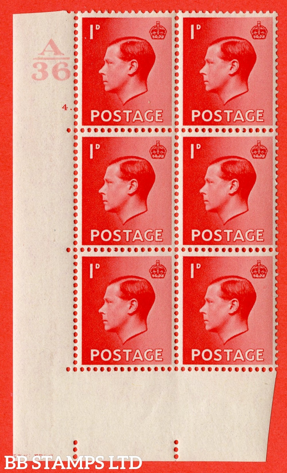 "SG. 458. P2. 1d Scarlet. A fine lightly mounted mint. "" Control  A36 cylinder 4 dot "" control block of 6 with perf type 5 E/I."