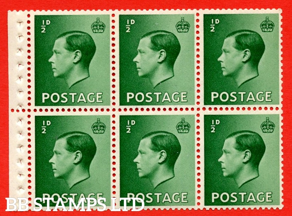 SG. 457 b. PB1. ½d green. A fine UNMOUNTED MINT booklet pane of 6. Perf type ' P '. Good perfs.
