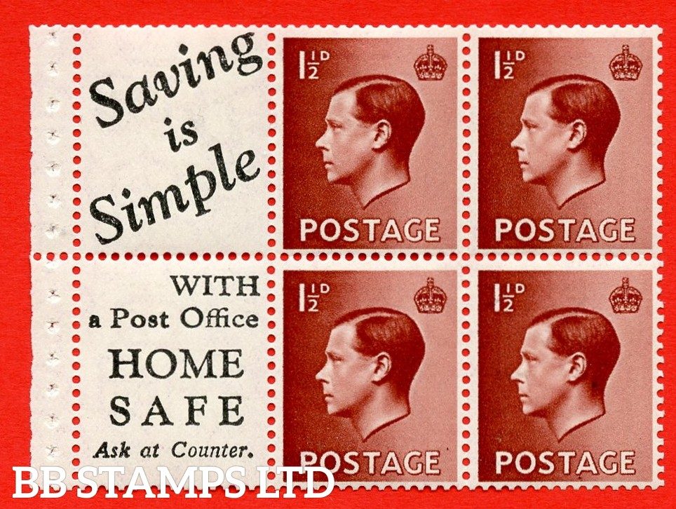 """SG. 459a. PB5 ( 14 ) 1½d Red - Brown. A fine MOUNTED MINT booklet pane of 6. Perf type ' P ' ( 14 ) """" Saving is simple/home safe."""" (edition number 365,369,375 or383). Good Perfs."""