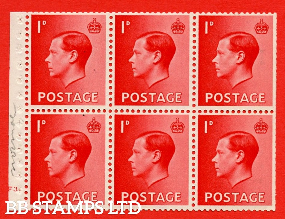 SG. 458 a. PB2. 1d Red. A fine UNMOUNTED MINT booklet pane of 6. Cylinder F3 dot  Perf type ' B4A(I) '. Trimmed perfs.