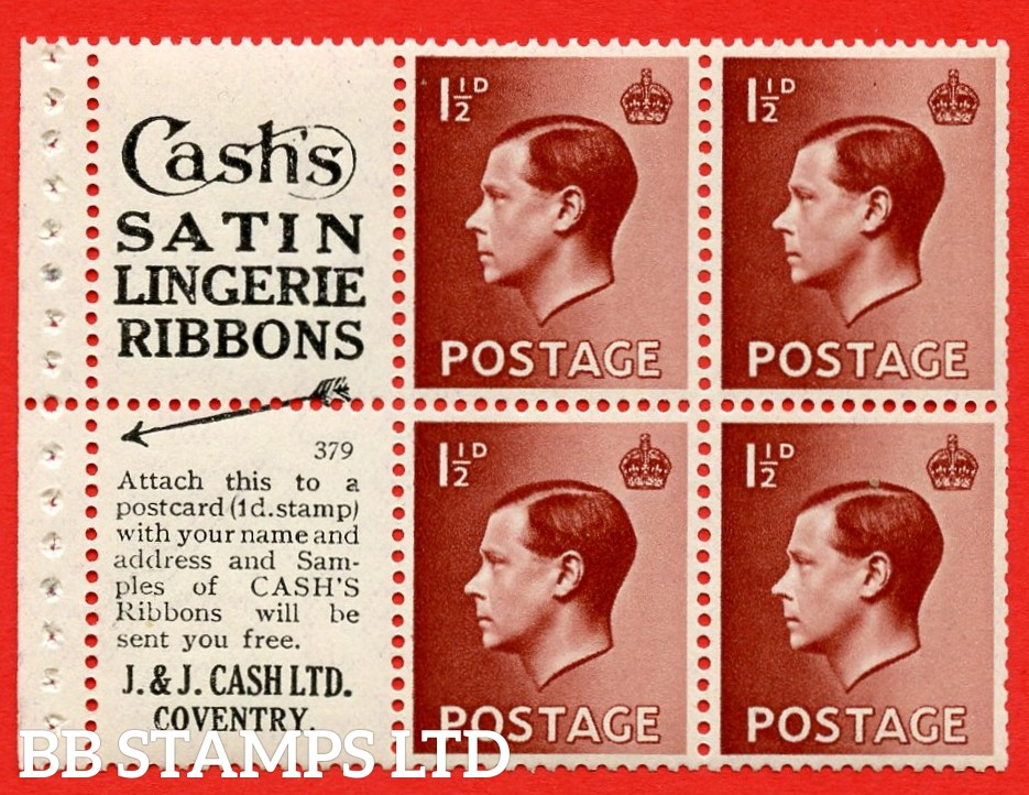 """SG. 459a PB5 ( 3 ) 1½d Brown. A fine Unmounted MINT booklet pane of 6. Perf type ' P'. ( 3 ) """" Cash's satin lingerie ribbons / Samples ( in text ) of cash's ribbons. """" Attach to this a """" J. & J. """" pane. Good perfs."""