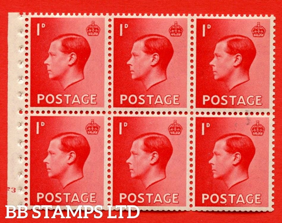 SG. 458 a. PB2. 1d Red. A fine UNMOUNTED MINT booklet pane of 6. Cylinder F3 no dot  Perf type ' B4(E) '. Good perfs.
