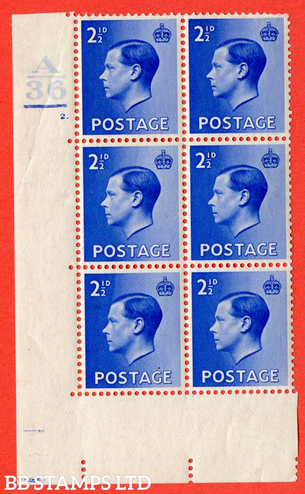 "SG. 460. P4. 2½d Bright Blue. A fine lightly mounted mint. "" Control  A36. 1 Bar Cylinder 2 no dot "" control block of 6 with perf type 5 E/I."