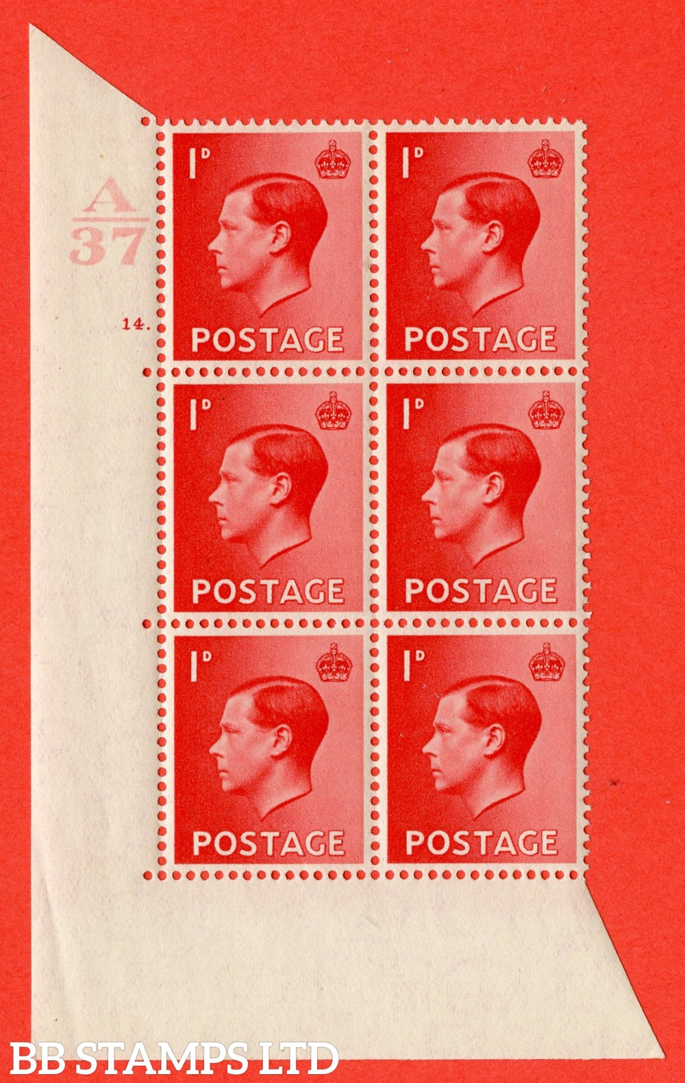 "SG. 458. P2. 1d Scarlet. A superb UNMOUNTED MINT. "" Control  A36 cylinder 14 dot "" control block of 6 with perf type 5 E/I."