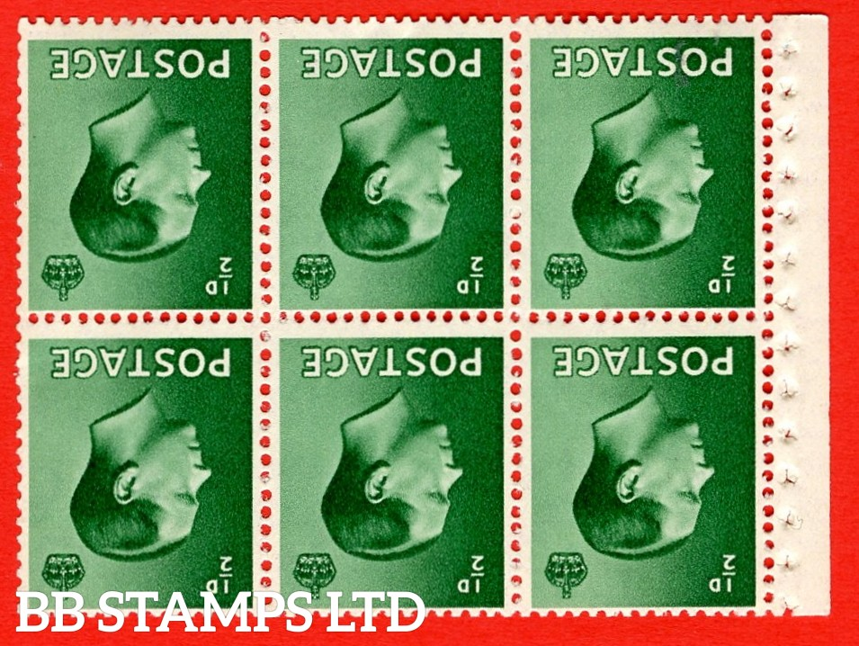 SG. 457 bw. PB1a. INVERTED WATERMARK. ½d green. A fine UNMOUNTED MINT booklet pane of 6. Perf type ' I'. Good perfs.