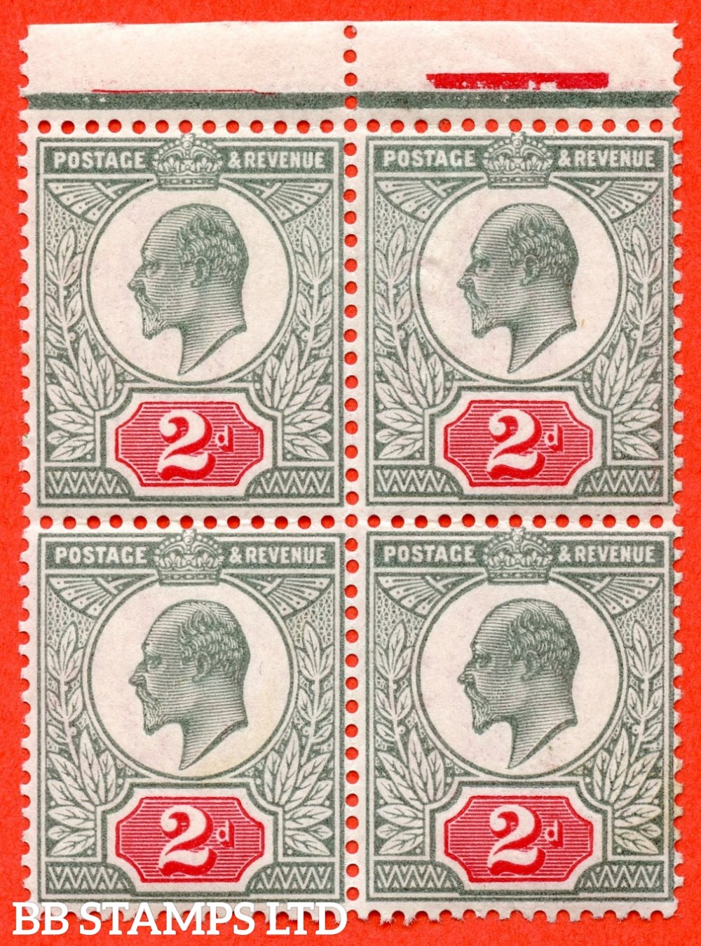 SG. 226. M11 (4). 2d Grey Green & Carmine Red. A super UNMOUNTED MINT top marginal block of 4. A scarce block these days.