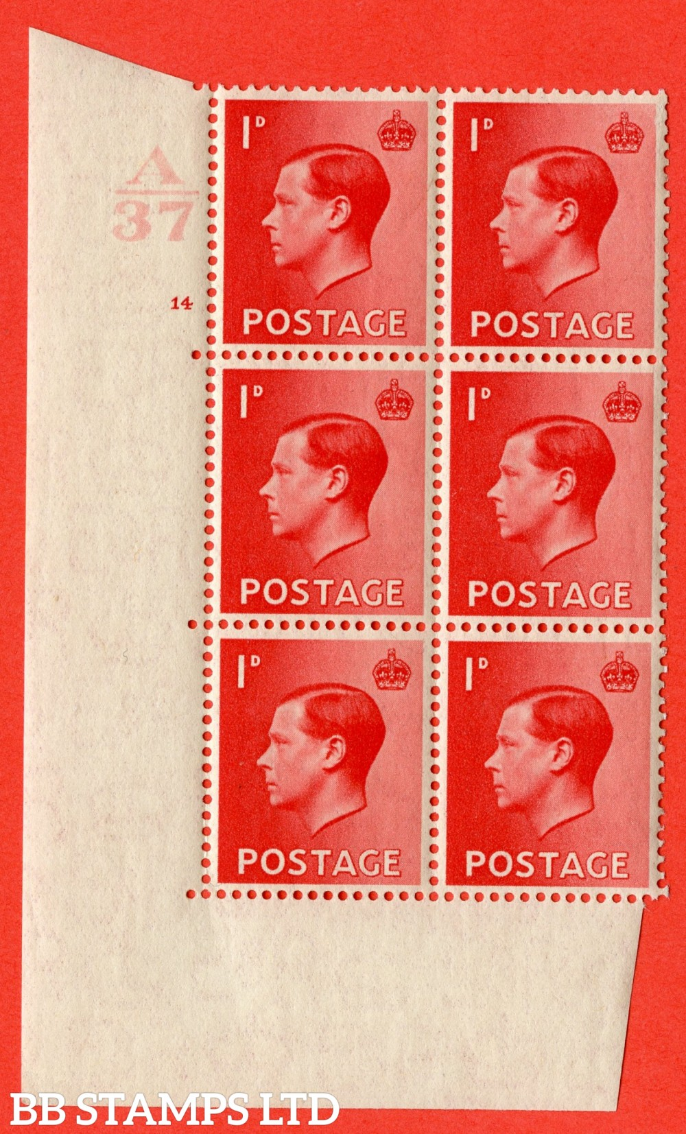 "SG. 458. P2. 1d Scarlet. A superb UNMOUNTED MINT. "" Control  A36 cylinder 14 no dot "" control block of 6 with perf type 5 E/I."