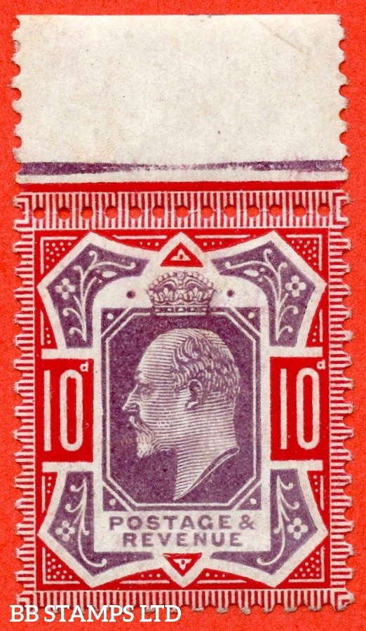 "SG. 256a. M43 (5) 10d Dull Purple & Scarlet ©. "" No Cross on Crown. A Superb UNMOUNTED MINT top marginal example."