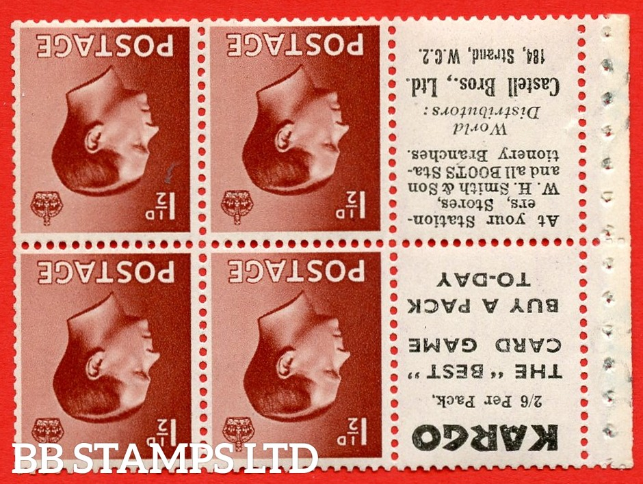 """SG. 459a. PB5a (6). 1½d Red - Brown. INVERTED WATERMARK. A fine UNMOUNTED MINT booklet pane of 6. Perf type ' E' """" Kargo. 2/6 per pack. / Castell Bros. (Edition number 355)"""