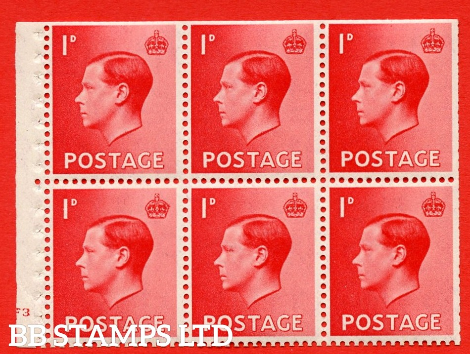 SG. 458 a. PB2. 1d Red. A fine UNMOUNTED MINT booklet pane of 6. Cylinder F3 no dot  Perf type ' B4(E) '. Trimmed perfs.