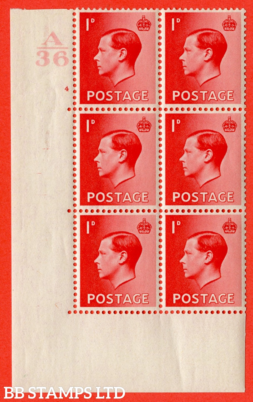"SG. 458. P2. 1d Scarlet. A fine lightly mounted mint. "" Control  A36 cylinder 4 no dot "" control block of 6 with perf type 5 E/I."
