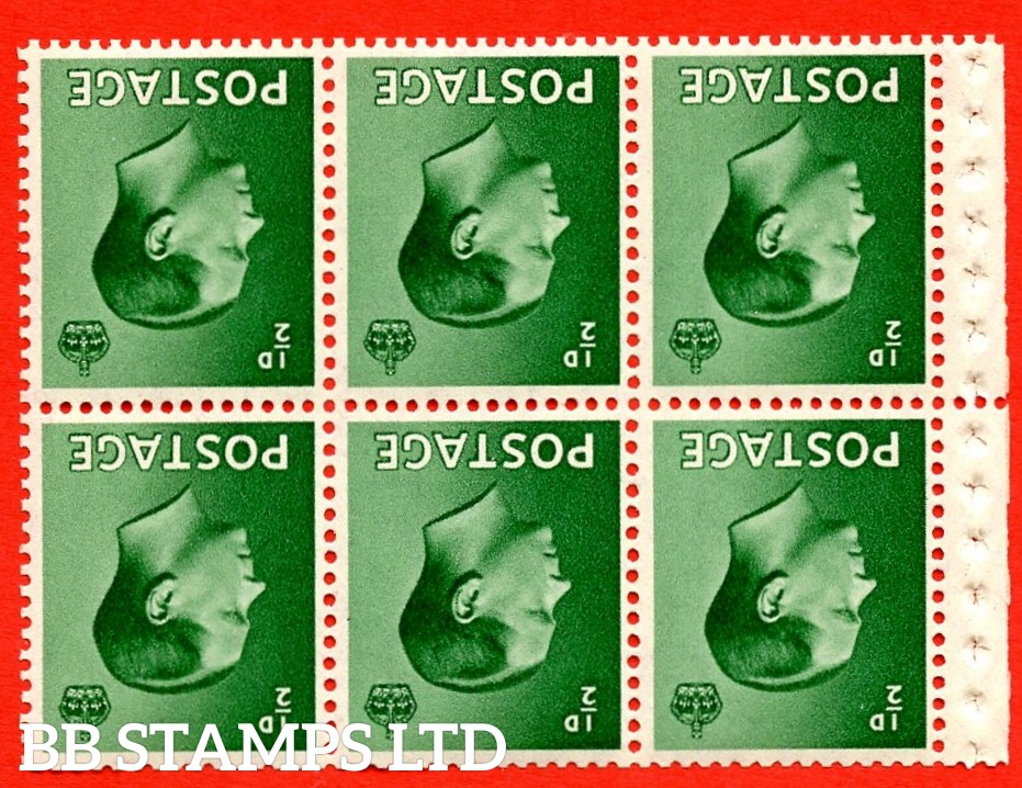 SG. 457 bw. PB1a. INVERTED WATERMARK. ½d green. A fine UNMOUNTED MINT booklet pane of 6. Perf type ' P'. Good perfs.