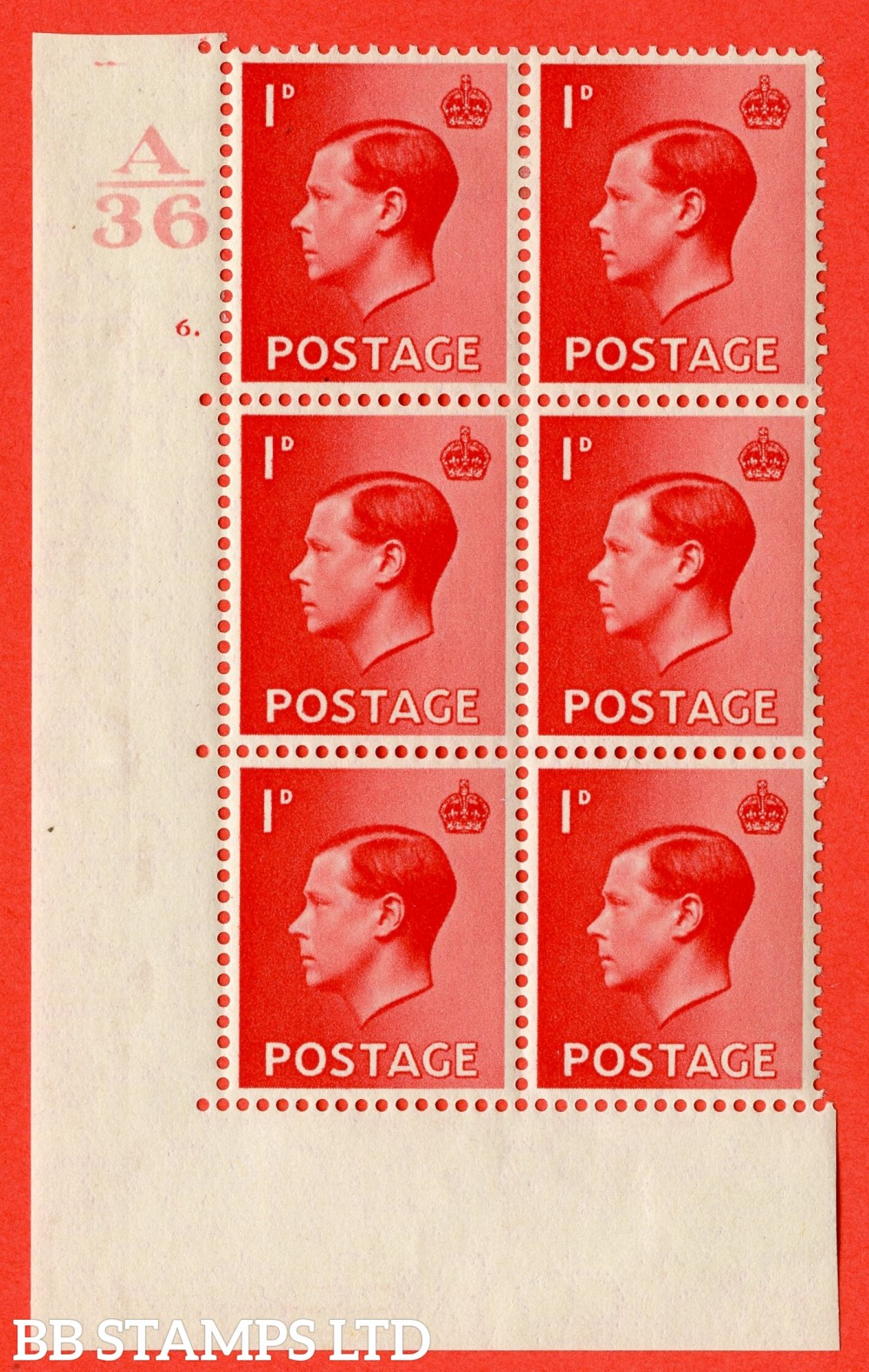 "SG. 458. P2. 1d Scarlet. A fine lightly mounted mint. "" Control  A36 cylinder 6 dot "" control block of 6 with perf type 5 E/I."