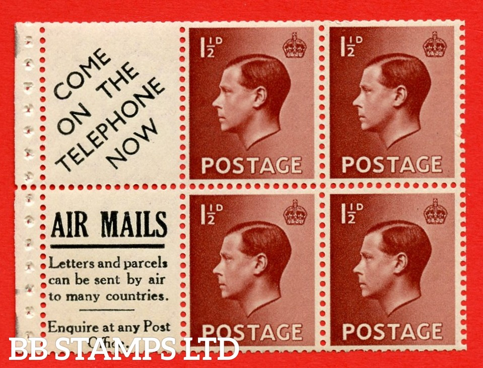 """SG. 459a. PB5 ( 15 ) 1½d Red - Brown. A fine UNMOUNTED MINT booklet pane of 6. Perf type ' P ' ( 15 ) """" Come on the telephone / Airmails letters and parcels """" pane. ( Edition numbers 16,366,376 or 385) Good Perfs."""