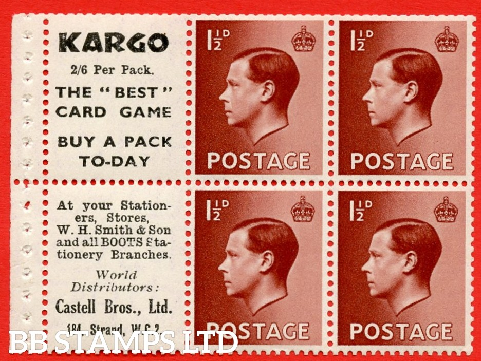 """SG. 459a. PB5 (6). 1½d Red - Brown. A fine UNMOUNTED MINT booklet pane of 6. Perf type ' P' """" Kargo. 2/6 per pack. / Castell Bros. (Edition number 355)"""
