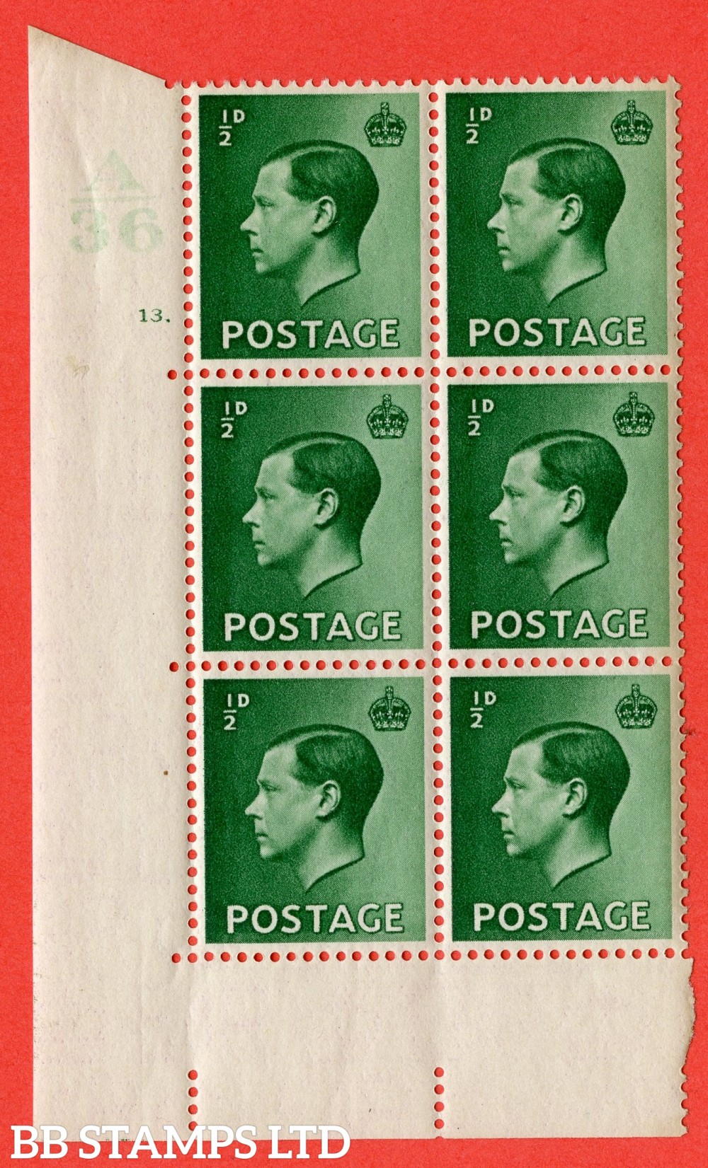 "SG. 457. P1. ½d Green. A superb UNMOUNTED MINT. "" Control  A36 cylinder 13 dot "" control block of 6 with perf type 5 E/I."