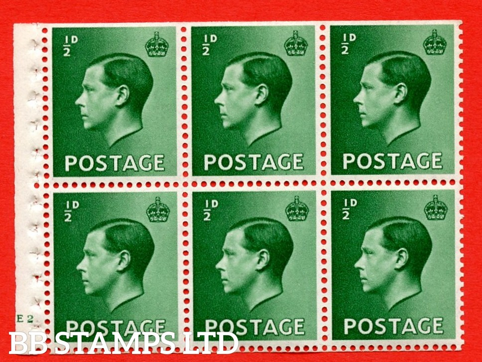 SG. 457 b. PB1. ½d green. A fine UNMOUNTED MINT booklet pane of 6. Cylinder E2 no dot  Perf type ' B4(E) '. Trimmed perfs.