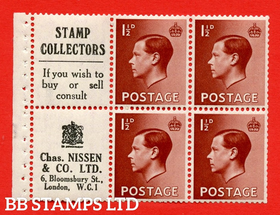 """SG. 459aw. PB5 ( 13 ) 1½d Red - Brown. A fine UNMOUNTED MINT booklet pane of 6. Perf type ' E ' ( 13 ) """" Stamp Collectors / Chas Nissen """" pane. (edition number 354). Good Perfs."""