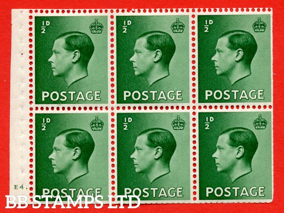 SG. 457 b. PB1. ½d green. A fine UNMOUNTED MINT booklet pane of 6. Cylinder E4 dot  Perf type ' B4A(I) '. Trimmed perfs.