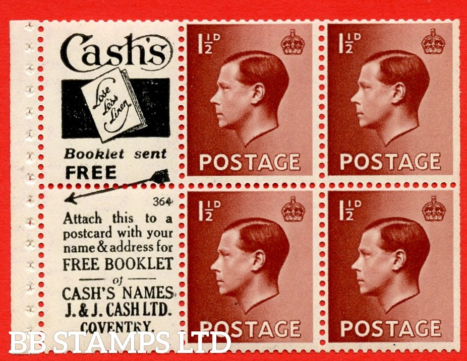 """SG. 459a. PB5 (1). 1½d Brown. A fine Unmounted MINT booklet pane of 6. Perf type ' I'. Trimmed perfs. """"cash's"""" Lose Less Linen"""" book/free Booklet.J.&j. Cash"""" (numbered 364)"""