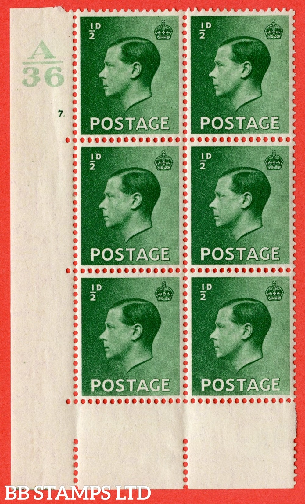 "SG. 457. P1 b. ½d Green. A fine mounted mint. "" Control  A36 cylinder 7 dot "" control block of 6 with perf type 5 E/I with listed variety "" Pearl beside crown "" Row 20/2."