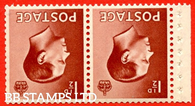 SG. 459cw. PB4a  1½d Red - Brown.  INVERTED WATERMARK. A fine UNMOUNTED MINT booklet pane of 2. Perf type ' P '. Good Perfs.