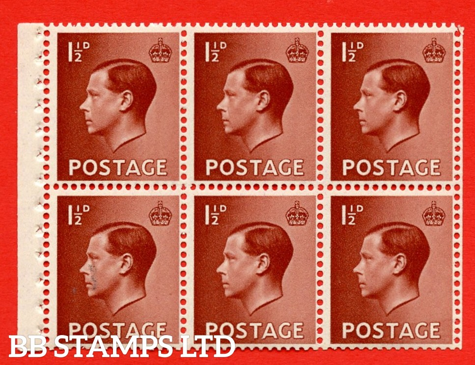 SG. 459b. PB3. 1½d Brown.. A fine UNMOUNTED MINT booklet pane of 6. Perf type ' I'. Good perfs.