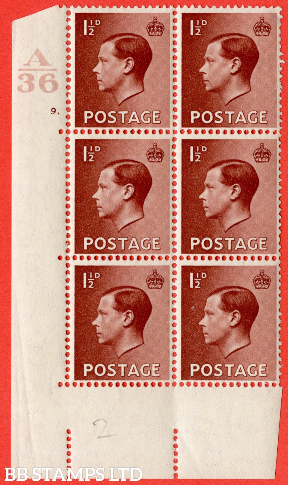 "SG. 459. P3. 1½d Red-brown. A superb UNMOUNTED MINT "" Control  A36 cylinder 9 no dot "" control block of 6 with perf type 5 E/I."