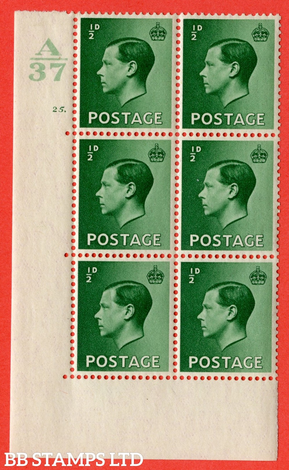 "SG. 457. P1. ½d Green. A superb UNMOUNTED MINT. "" Control  A37 cylinder 25 dot "" control block of 6 with perf type 5 E/I."