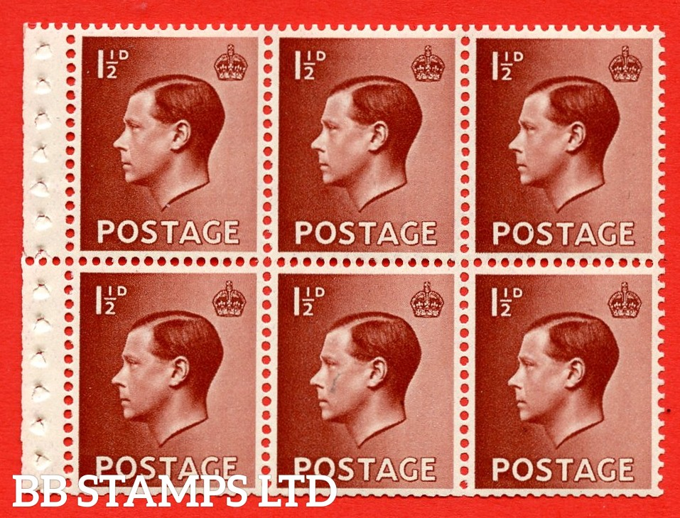 SG. 459b. PB3. 1½d Brown. A fine UNMOUNTED MINT booklet pane of 6. Perf type ' P'. Good perfs.