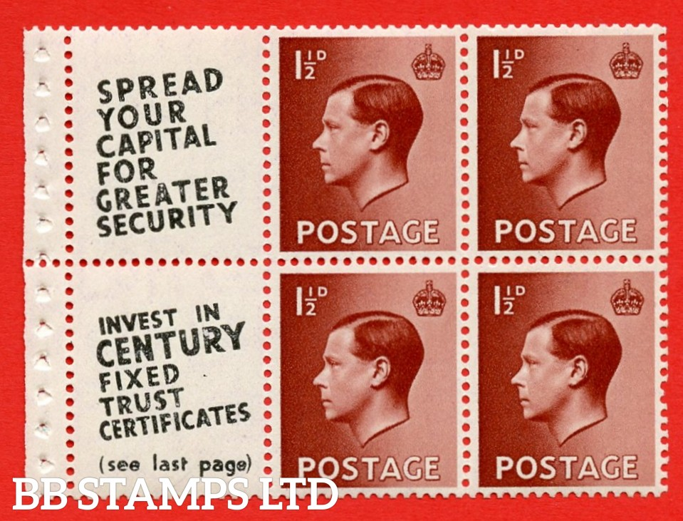 """SG. 459a. PB5 (11). 1½d Red - Brown. A fine UNMOUNTED MINT booklet pane of 6. Perf type ' P ' ( 11 ) """" Spread your Capital / Century Fixed Trust ( text on both panes diagonal ) """" (Edition 361 or 363). Good perfs"""