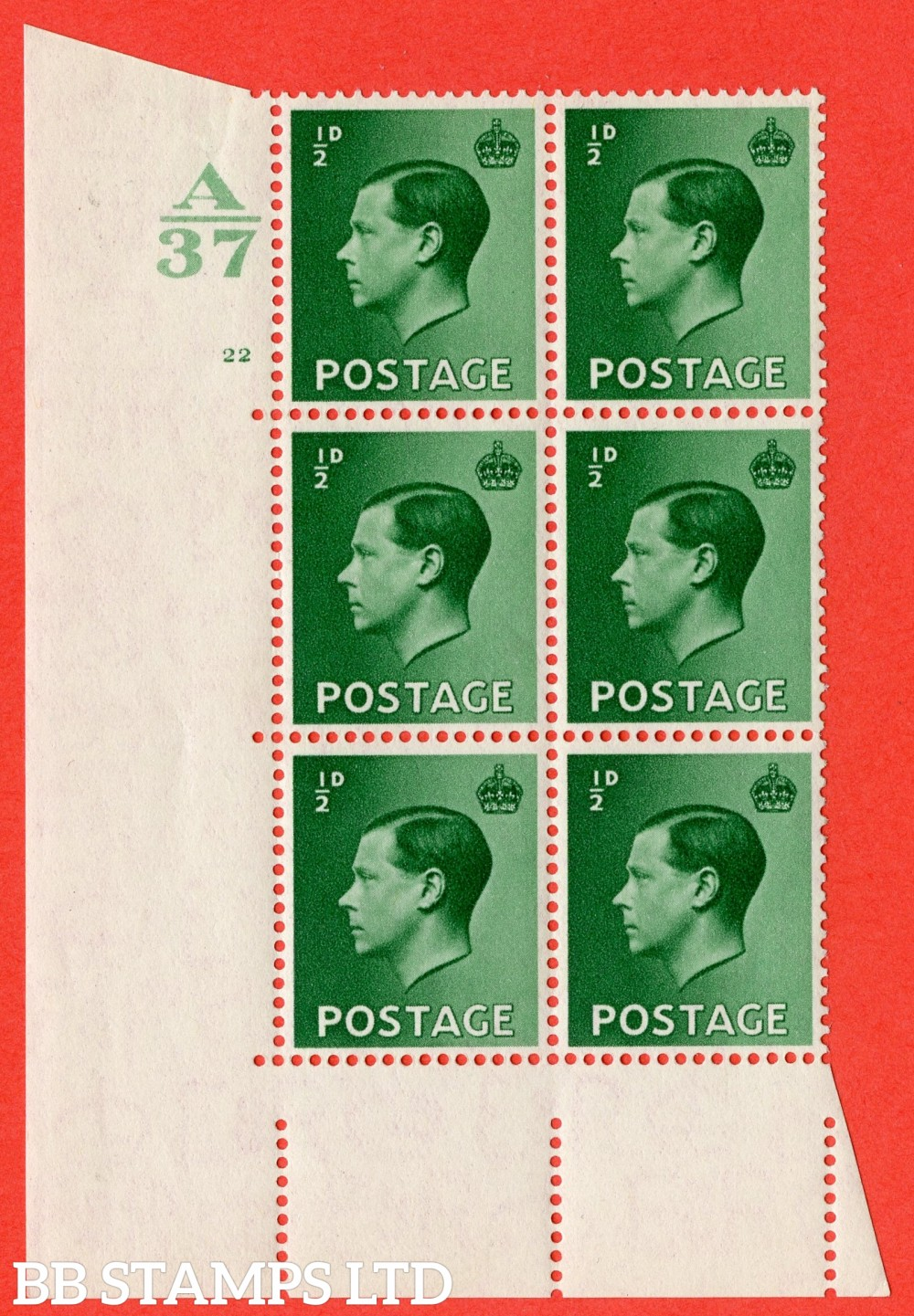 "SG. 457. P1. ½d Green. A superb UNMOUNTED MINT. "" Control  A37 cylinder 22 no dot "" control block of 6 with perf type 5 E/I."