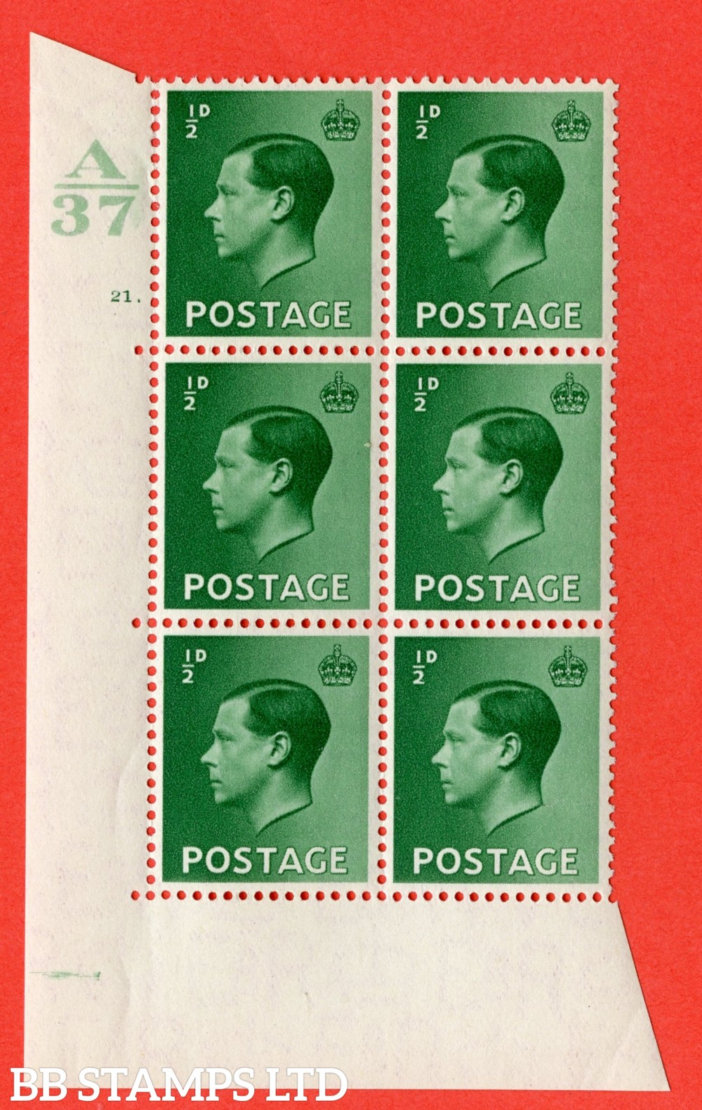"SG. 457. P1. ½d Green. A superb UNMOUNTED MINT. "" Control  A37 cylinder 21 dot "" control block of 6 with perf type 5 E/I."