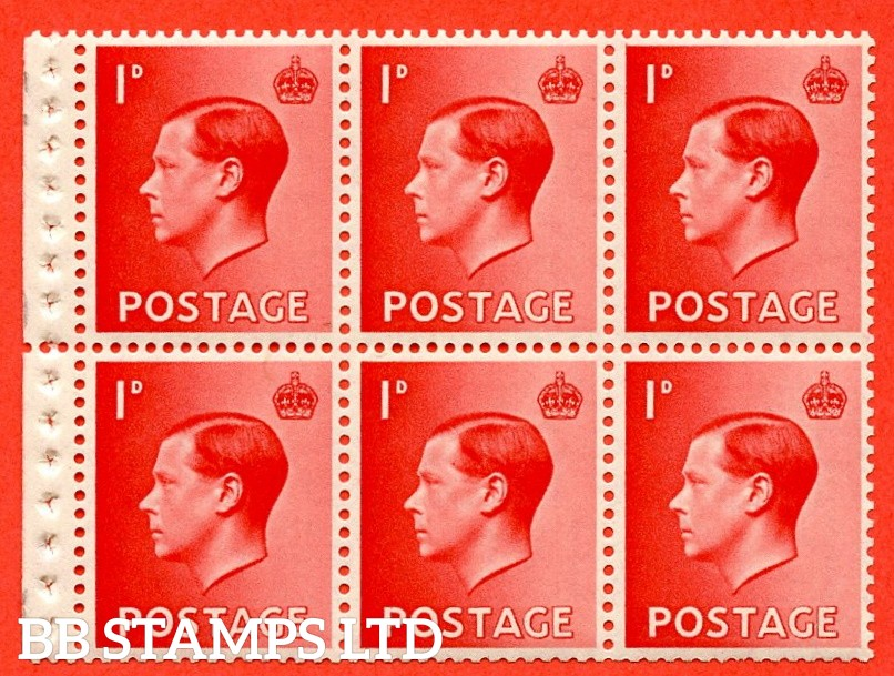 SG. 458a. PB2. 1d Red. A fine UNMOUNTED MINT booklet pane of 6. Perf type ' P'. Good perfs.
