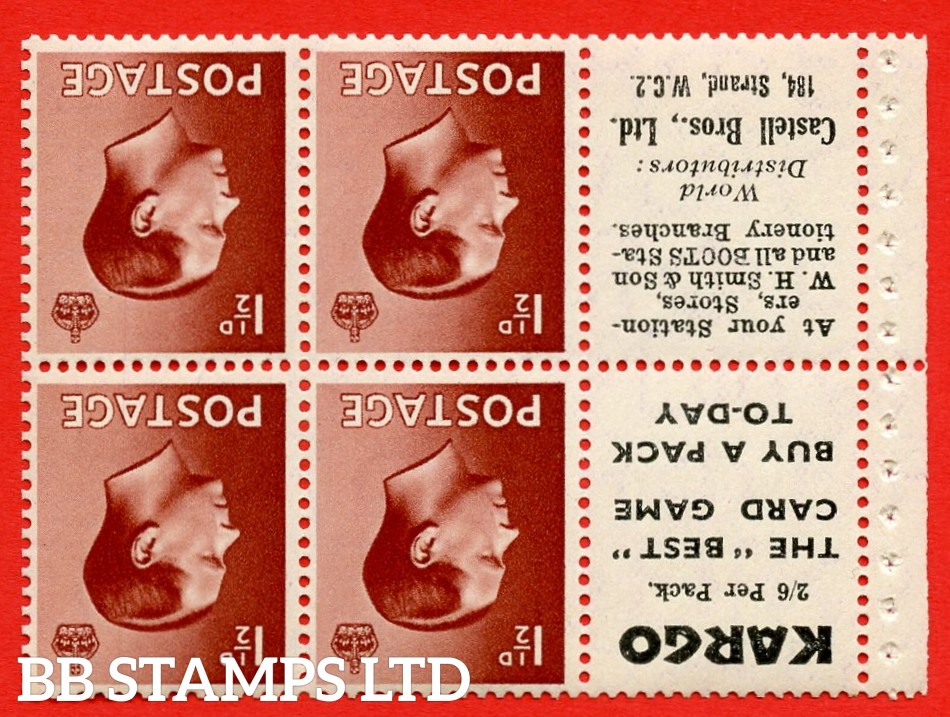 """SG. 459aw. PB5a (6). 1½d Red - Brown. INVERTED WATERMARK. A fine UNMOUNTED MINT booklet pane of 6. Perf type ' P' """" Kargo. 2/6 per pack. / Castell Bros. (Edition number 355)"""