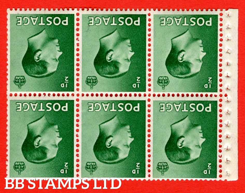 SG. 457 bw. PB1a. INVERTED WATERMARK. ½d green. A fine UNMOUNTED MINT booklet pane of 6. Perf type ' E'. Good perfs.