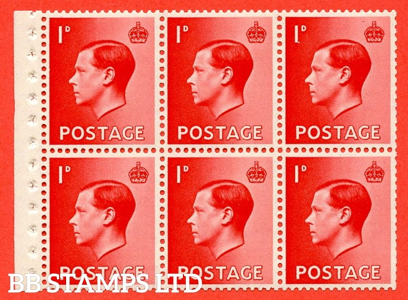 SG. 458a. PB2. 1d Red. A fine UNMOUNTED MINT booklet pane of 6. Perf type ' I'. Good perfs.
