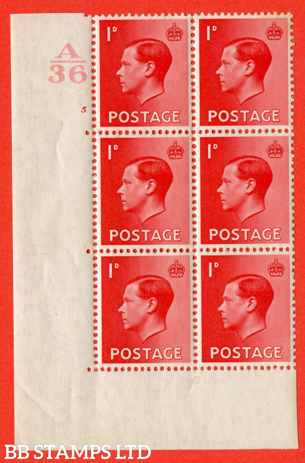 "SG. 458. P2. 1d Scarlet. A fine lightly mounted mint. "" Control  A36 cylinder 5 no dot "" control block of 6 with perf type 5 E/I."