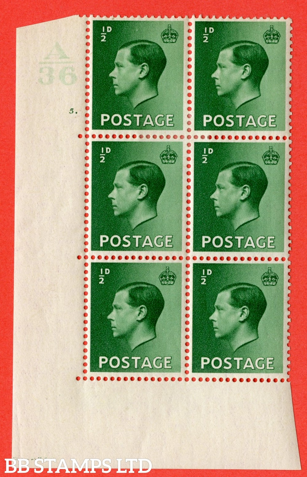 """SG. 457. P1. ½d Green. A fine mounted mint. """" Control  A36 cylinder 5 dot """" control block of 6 with perf type 5 E/I."""